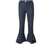 Cropped-Jeans mit ausgestelltem Saum