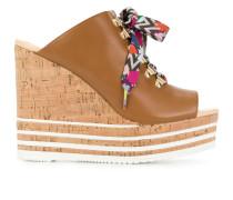 colour lace wedge sandals