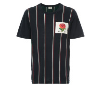 striped rose patch T-shirt