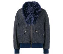 trimmed collar bomber jacket