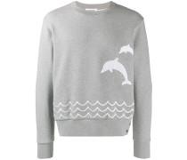 Dolphin Embroidered Crew Neck Sweatshirt