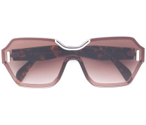 Rechteckige Sonnenbrille in Schildpattoptik