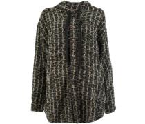 Tweed-Cardigan mit Kapuze