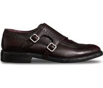 Brogue Detail Textured Leather Monk Shoes