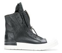 creased effect zip sneakers