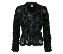 ruched faux leather jacket