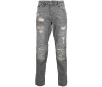 panelled distressed jeans