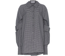 double sleeve check cotton shirt