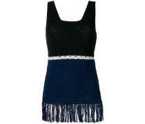 fringed colour block knitted top