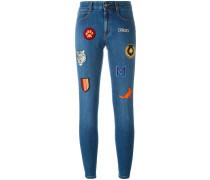 Skinny-Jeans mit aufgestickten Patches