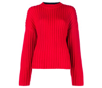 bicolour cable knit sweater