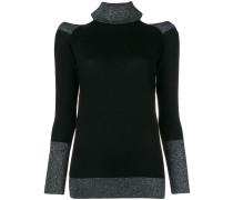 lurex trim cold shoulder sweater