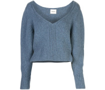 cropped V-neck jumper