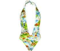 Hawaiian print plunge swimsuit