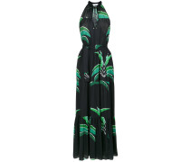 foliage print long dress
