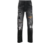 Boyfriend-Jeans mit Leoparden-Einsätzen