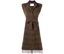 belted sleeveless cardi-coat