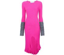 contrast-cuff midi dress