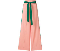 contrast piped high waist culottes