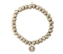 14kt gold diamond cross disc charm bracelet