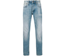 heavy washed mid rise jeans
