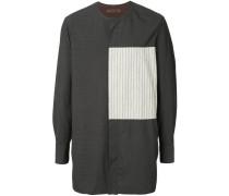 striped panel long line shirt