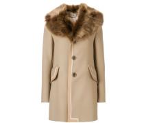 Einreihiger Mantel mit Pelzkragen
