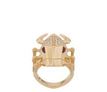 18kt , diamond and ruby Toro Beetle ring
