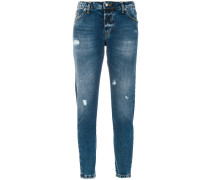 printed slim-fit jeans
