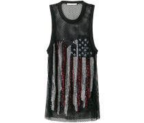 sequinned flag mesh tank top