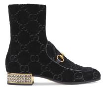 Horsebit GG velvet boots with crystals