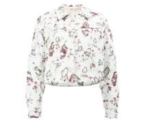 Distressed-Jacke mit Blumenmuster