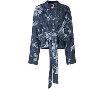 belted floral print jacket
