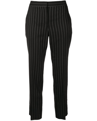 striped print cropped trousers