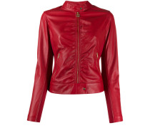 faux-leather fitted jacket