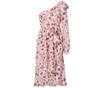 Asymmetrisches Kleid mit Rosen-Print