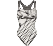 logo band striped swimsuit