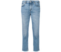 frayed cropped jeans