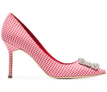 white and red Hangisi 90 gingham cotton pumps