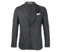 textured logo brooch suit jacket