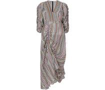 checkerboard gathered detail dress
