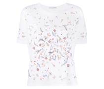 T-Shirt mit Blumenapplikation