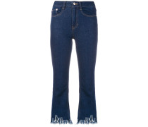 Bootcut-Jeans mit Fransensaum