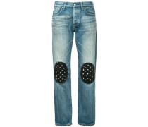 tulle knee patch boyfriend jeans short length
