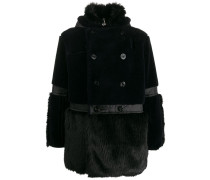 panelled faux-fur coat