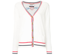embroidered contrast-trim cardigan