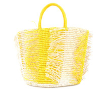 frayed woven tote