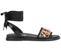 embellished ankle wrap around strap sandals