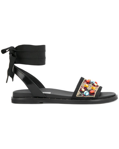 embellished ankle wrap around strap sandals