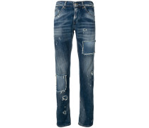 Schmale Distressed-Jeans